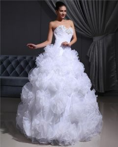 Organza Beading Hand Flower Sweetheart Floor Length Wedding Dresses