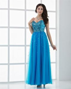 Beautiful Sweetheart Floor Length Tulle Paillette Women Prom Dress