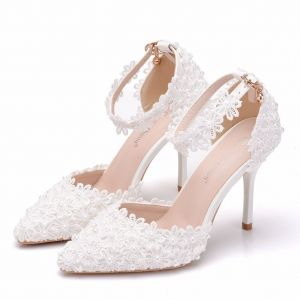 Chic / Beautiful Black Wedding Shoes 2018 Pearl Lace Ankle Strap 9 cm Stiletto Heels Pointed Toe Wedding High Heels