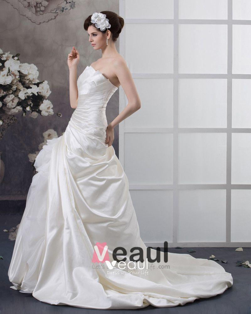 Sweep Pleated Taffeta Strapless A-Line Wedding Dress