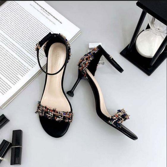 Asequible Negro Casual Sandalias De Mujer 2019 Correa Del Tobillo 7 cm Stilettos / Tacones De Aguja Peep Toe Sandalias