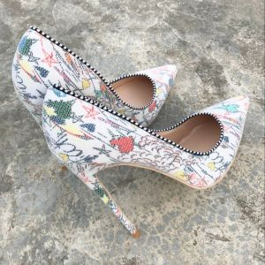 Chic / Beautiful Casual Color block Cartoon Pumps 2019 Leather Printing 12 cm Stiletto Heels Pointed Toe Pumps