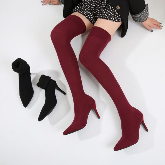 Fashion Burgundy Street Wear Over The Knee / Thigh High Womens Boots 2020 8 cm Stiletto Heels Pointed Toe Boots