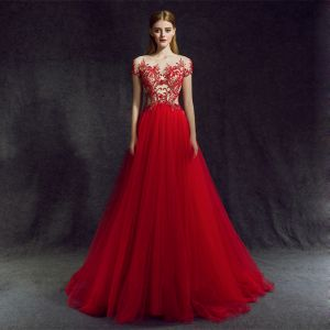 Stunning Red Evening Dresses  2018 A-Line / Princess Scoop Neck Zipper Up Beading Floor-Length / Long Ruffle Tulle Formal Dresses