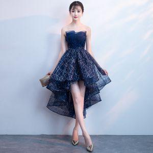 Bling Bling Bleu Marine Robe De Cocktail 2018 Princesse Bustier Sans Manches Glitter Paillettes Asymétrique Volants Dos Nu Robe De Ceremonie