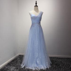Chic / Beautiful Sky Blue Evening Dresses  2017 A-Line / Princess Floor-Length / Long Cascading Ruffles V-Neck Shoulders Sleeveless Backless Rhinestone Lace Appliques Glitter Pierced Formal Dresses