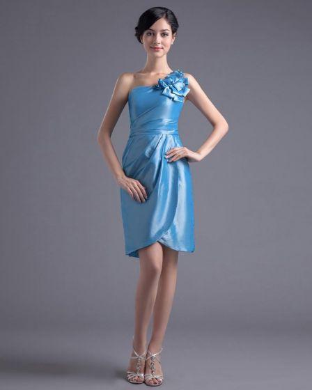 Mode Taft Veckad Blomma Ena Axeln Laret Langd Cocktailklänning Festklänningar