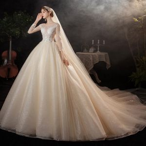 Charming Champagne Bridal Wedding Dresses 2020 Ball Gown See-through Scoop Neck Long Sleeve Appliques Lace Sequins Beading Glitter Tulle Cathedral Train Ruffle