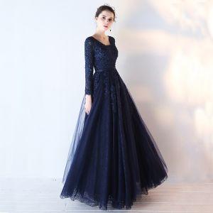Piękne Granatowe Sukienki Na Bal 2017 Princessa Długie Rękawy V-Szyja Aplikacje Z Koronki Cekiny Frezowanie Szarfa Długie Bez Pleców Sukienki Wizytowe