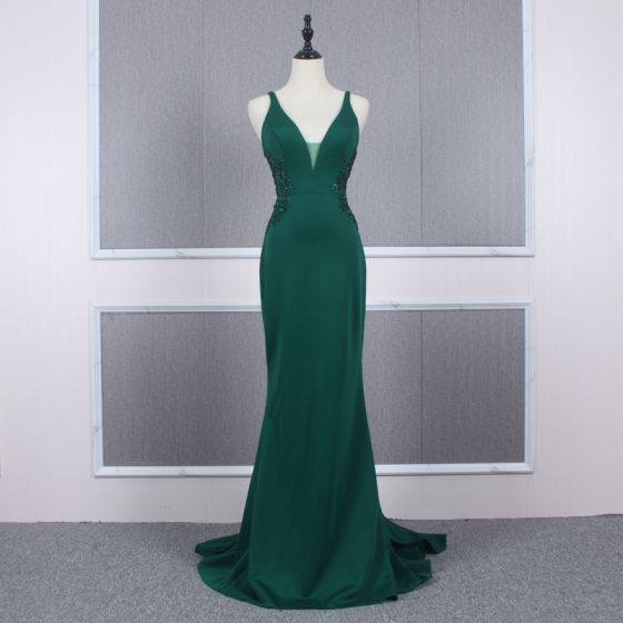Affordable Dark Green Evening Dresses  2020 Trumpet / Mermaid Shoulders Sleeveless Beading Court Train Ruffle Backless Formal Dresses