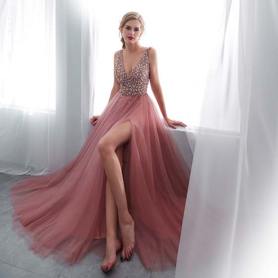 Luxury / Gorgeous Blushing Pink Evening Dresses  2018 A-Line / Princess V-Neck Sleeveless Pearl Rhinestone Sequins Split Front Sweep Train Ruffle Backless Formal Dresses