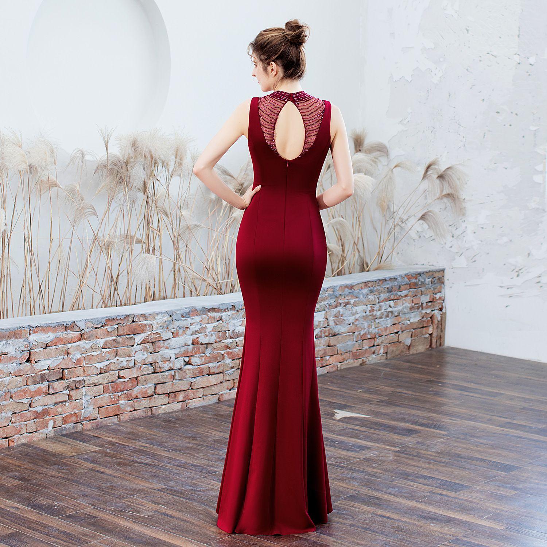 Chic / Beautiful Dark Green Evening Dresses  2019 Trumpet / Mermaid High Neck Beading Sleeveless Backless Floor-Length / Long Formal Dresses