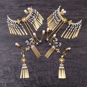 Piękne Złote Biżuteria Ślubna 2019 Metal Kryształ Perła Frezowanie Ozdoby Do Włosów Kolczyki Ślub Akcesoria