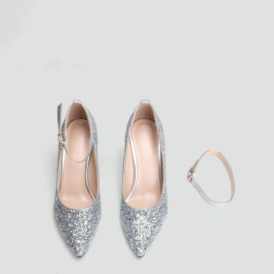Glittrande Silver Paljetter Brudskor 2020 Ankelband 9 cm Stilettklackar Spetsiga Bröllop Pumps