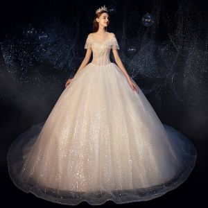Fabulous Champagne Wedding Dresses 2019 Ball Gown Off-The-Shoulder Sequins Beading Tassel Short Sleeve Backless Royal Train