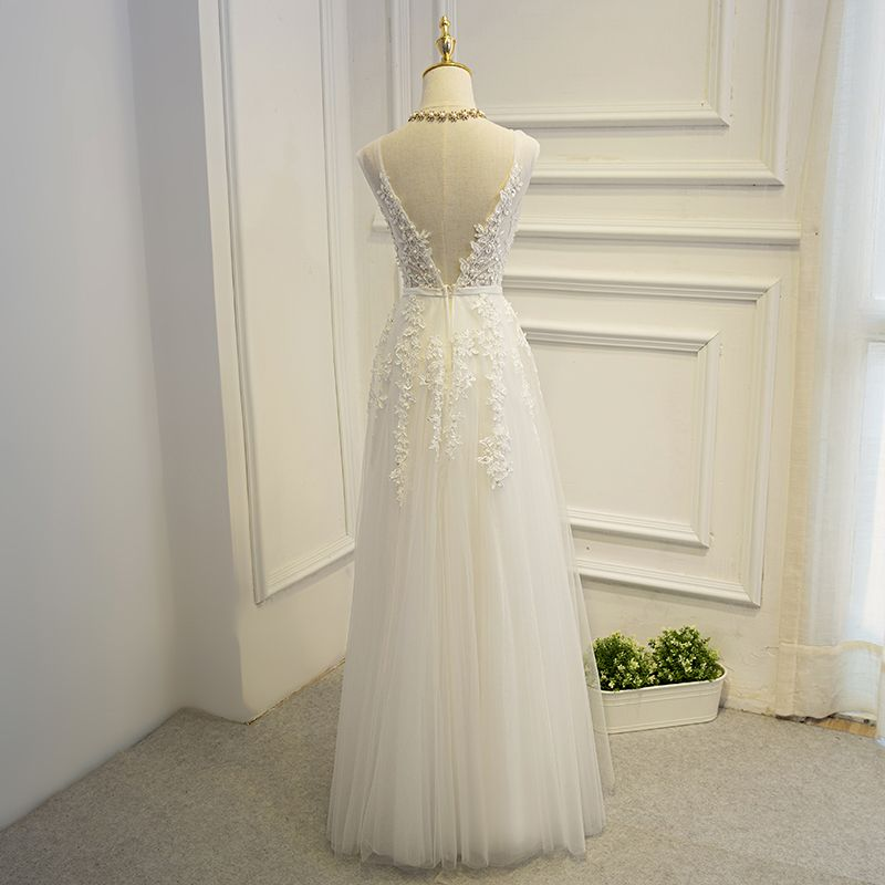 Elegant White Formal Dresses 2017 A-Line / Princess Lace Flower Pearl Strappy Sequins Short Sleeve Floor-Length / Long Prom Dresses