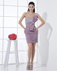 Strapless Zipper Sleeveless Beading Bowknot Mini Length Chiffon Woman Cocktail Dress