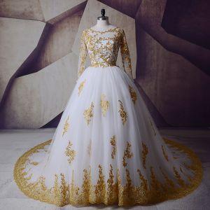 Glitzernden Weiß Gold Brautkleider 2017 Rundhalsausschnitt Schultern Lange Ärmel Applikationen Mit Spitze Pailletten Ballkleid Königliche Schleppe