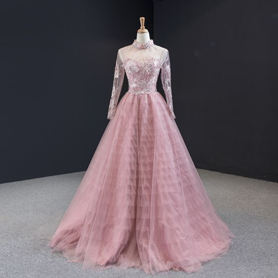 Charming Candy Pink See-through Evening Dresses  2020 A-Line / Princess High Neck Long Sleeve Flower Appliques Lace Beading Floor-Length / Long Ruffle Backless Formal Dresses