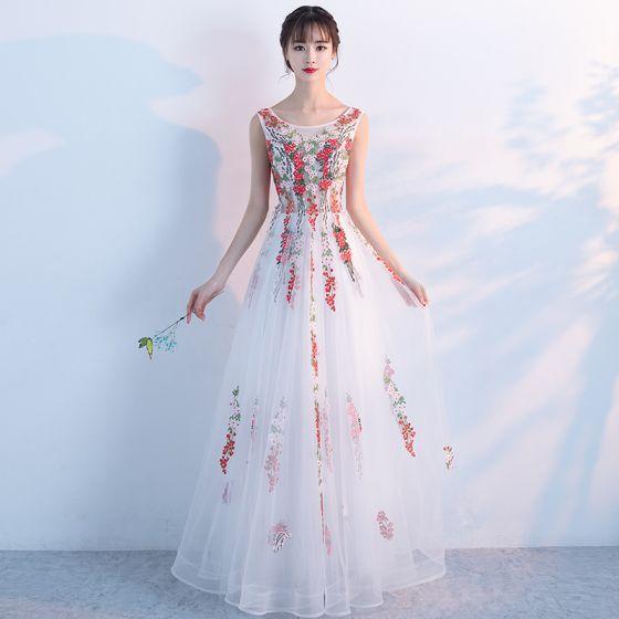 8285bccc6 Único Pasillo Vestidos Formales 2017 Vestidos de gala Blanco A-Line   Princess  Largos Volantes En Cascada ...
