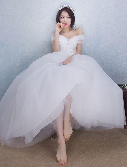 Bellos Vestidos De Novia 2016 Vestido De Bola Del Hombro Larga De Tul De Novia Bowknot Del Corsé Del Vestido