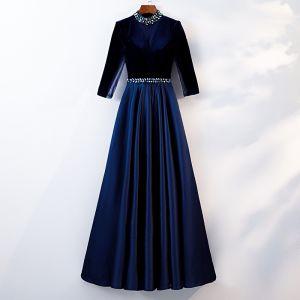Élégant Bleu Roi Robe De Soirée 2019 Princesse Encolure Dégagée Perlage Cristal 3/4 Manches Longue Robe De Ceremonie