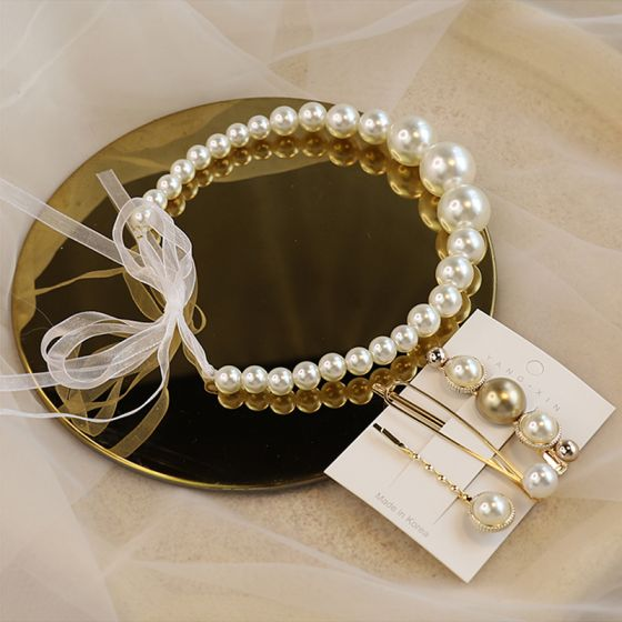 Elegant Ivory Pearl Headbands Bridal Hair Accessories 2020 Lace-up Headpieces Earrings Bridal Jewelry