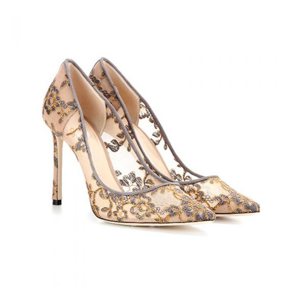 Chic / Beautiful Nude Wedding Shoes 2018 Lace Flower Pierced 10 cm Stiletto Heels Pointed Toe Wedding High Heels