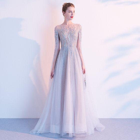 Charming High-end Grey See-through Evening Dresses  2020 A-Line / Princess Square Neckline Long Sleeve Handmade  Beading Sweep Train Formal Dresses