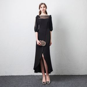 Modest / Simple Casual Black See-through Evening Dresses  2019 Square Neckline Puffy 1/2 Sleeves Bow Split Front Ankle Length Formal Dresses