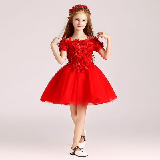 Chic / Beautiful Red Flower Girl Dresses 2017 Ball Gown Off-The-Shoulder Short Sleeve Appliques Flower Pearl Short Ruffle Wedding Party Dresses
