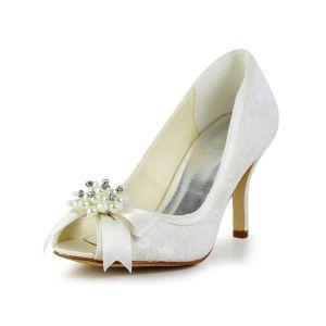 Piękne Białe Buty Ślubne Peep Toe Szpilki Koronki Czółenka Z Perłą
