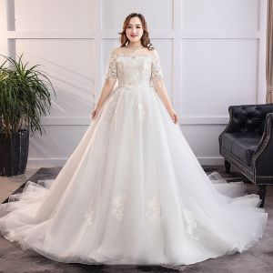 Classic Elegant White Plus Size Wedding Dresses 2019 A-Line / Princess Lace Tulle Appliques Backless Strapless Chapel Train Wedding