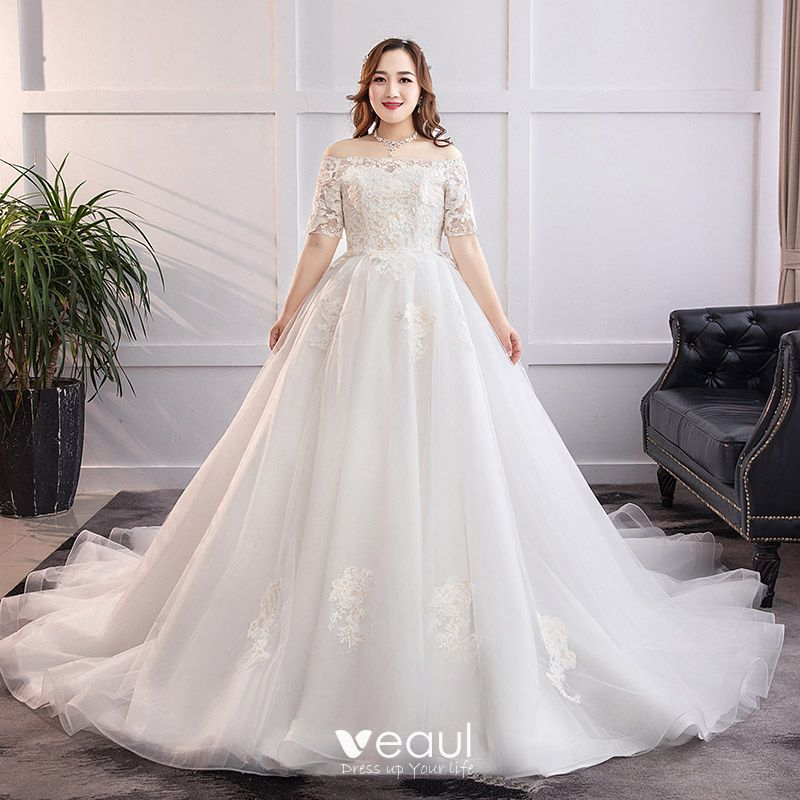 Classic Elegant White Plus Size Wedding Dresses 2019 A Line Princess Lace Tulle Appliques Backless Strapless Chapel Train Wedding