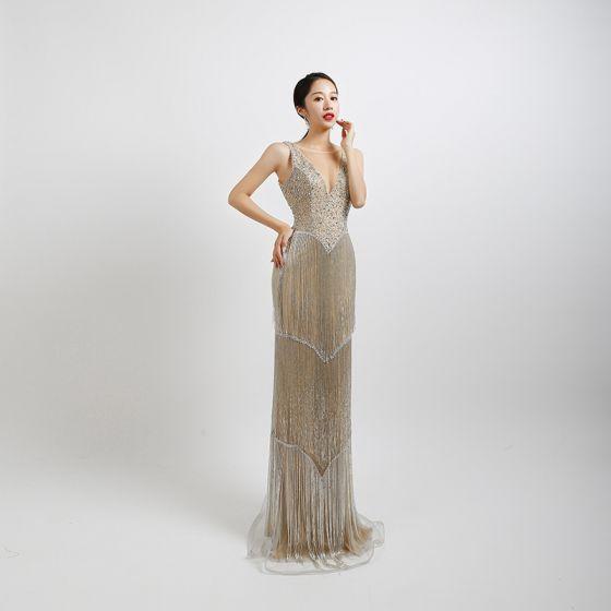 High-end Silver Evening Dresses  2020 Trumpet / Mermaid See-through V-Neck Sleeveless Beading Tassel Sequins Floor-Length / Long Backless Formal Dresses