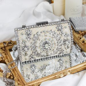 Luxus Sølv Perle Rhinestone Laklæder Clutch Taske 2019
