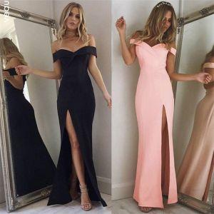 Sexy Rose Bonbon Robes longues 2018 Trompette / Sirène Fendue devant De l'épaule Dos Nu Manches Courtes Longue Vêtements Femme