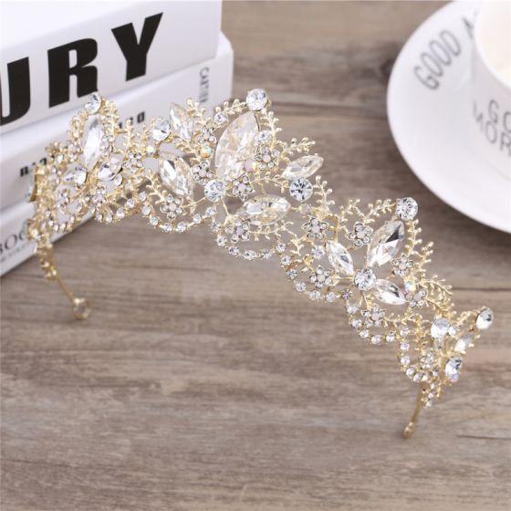 Chic / Beautiful Gold Wedding Accessories 2018 Metal Rhinestone Tiara