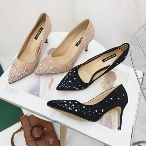Chic / Beautiful Black Prom Womens Shoes 2018 Glitter Star Suede 8 cm Stiletto Heels Pointed Toe Pumps