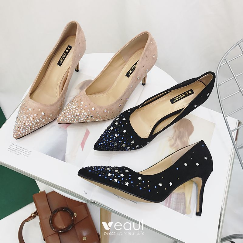 5a84313af46 Chic / Beautiful Black Prom Womens Shoes 2018 Glitter Star Suede 8 ...