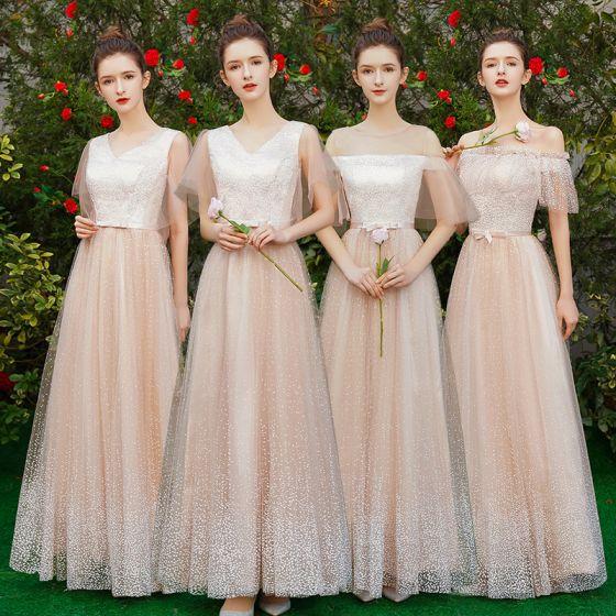Eleganckie Szampan Sukienki Dla Druhen 2019 Princessa Spleciona Tiulowe Kokarda Szarfa Długie Wzburzyć Sukienki Na Wesele