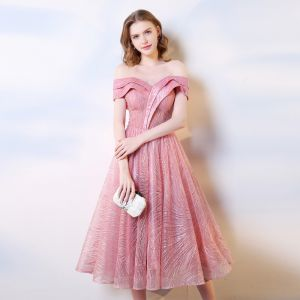Chic / Beautiful Candy Pink Homecoming Graduation Dresses 2019 A-Line / Princess Off-The-Shoulder Sequins Short Sleeve Backless Tea-length Formal Dresses