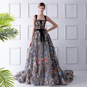 Colored Multi-Colors Evening Dresses  2019 A-Line / Princess Shoulders Sleeveless Floral Embroidered Sash Court Train Ruffle Backless Formal Dresses