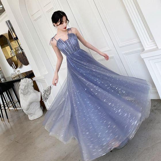 Affordable Sky Blue Prom Dresses 2019 A-Line / Princess Spaghetti Straps Sleeveless Glitter Tulle Floor-Length / Long Ruffle Backless Formal Dresses