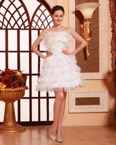 Fashion Solid Beading Ruffle Strapless Knee Length Back Lace Up Satin Lace Feather Cocktail Dress