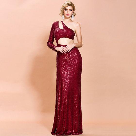 Moda Burgund Cekiny Sukienki Wieczorowe 2020 Syrena / Rozkloszowane Jedno Ramię Długie Rękawy Długie Bez Pleców Sukienki Wizytowe