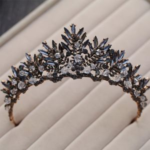 Amazing / Unique Black Bridal Jewelry 2017 Metal Crystal Beading Handmade  Headpieces Wedding Prom Accessories