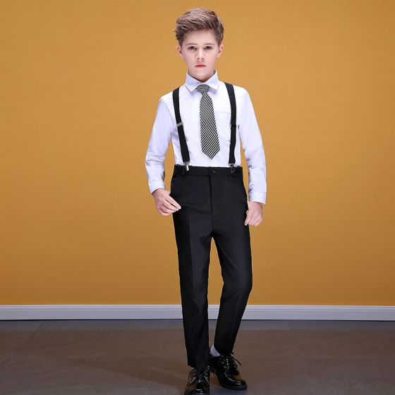 Affordable White Shirt Black Braces Pants Boys Wedding Suits 2020