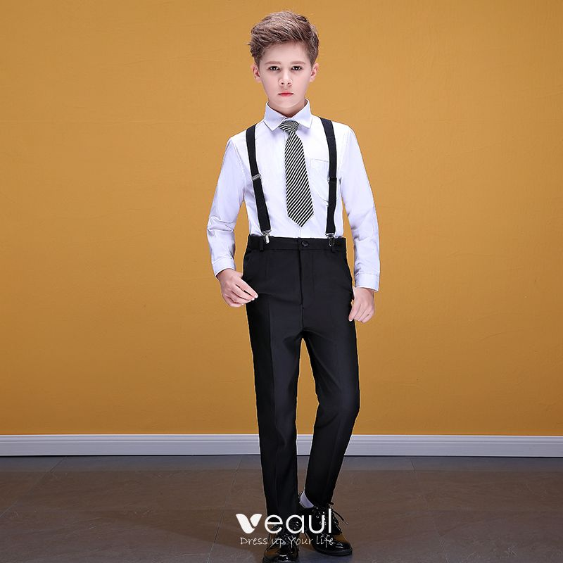 2018 shoes hot product cost charm Affordable White Shirt Black Braces Pants Boys Wedding Suits 2020