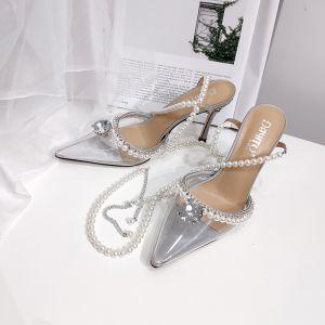 Sjarmerende Sølv Rhinestone Fest Sandaler Dame 2020 Perle Ankelstropp 9 cm Stiletthæler Spisse Sandaler